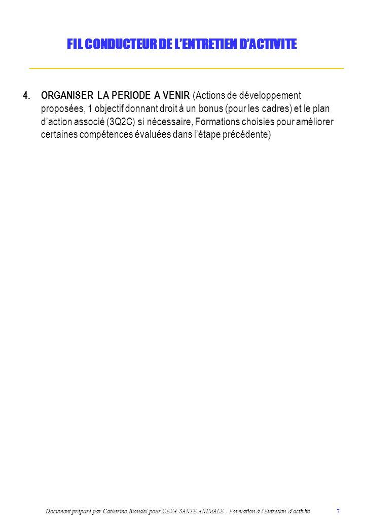 FIL CONDUCTEUR DE L'ENTRETIEN D'ACTIVITE