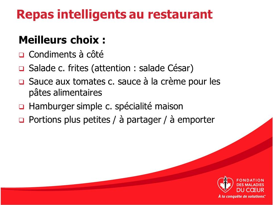 Repas intelligents au restaurant
