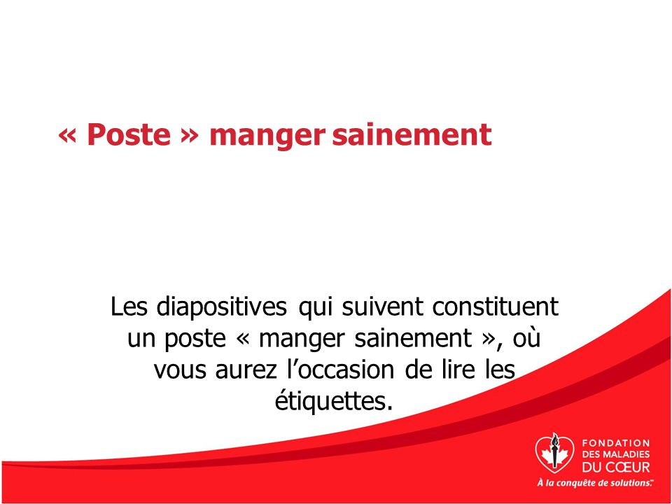 « Poste » manger sainement