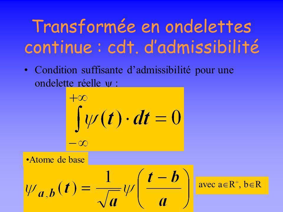 Transformée en ondelettes continue : cdt. d'admissibilité