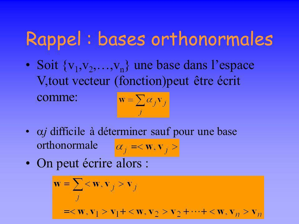 Rappel : bases orthonormales