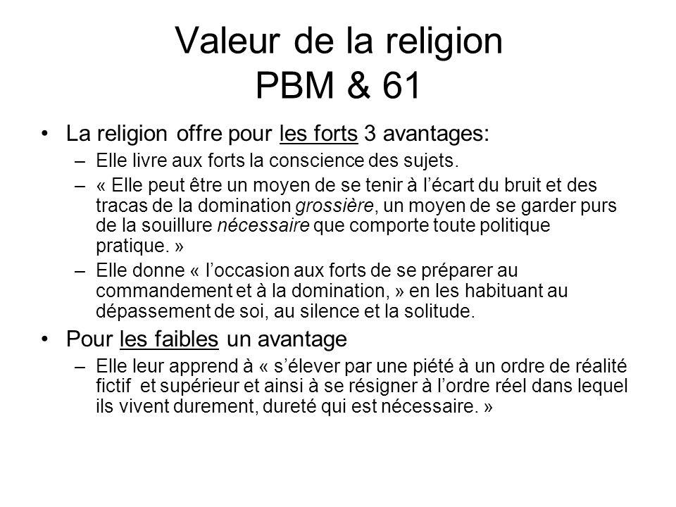 Valeur de la religion PBM & 61