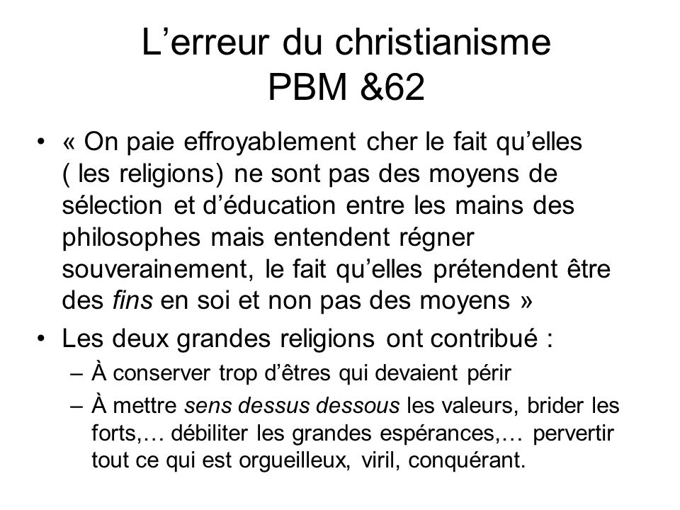 L'erreur du christianisme PBM &62