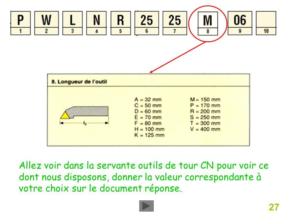 Allez voir dans la servante outils de tour CN pour voir ce dont nous disposons, donner la valeur correspondante à votre choix sur le document réponse.