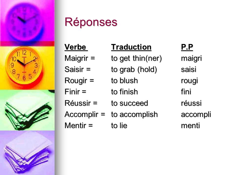 Réponses Verbe Traduction P.P Maigrir = to get thin(ner) maigri