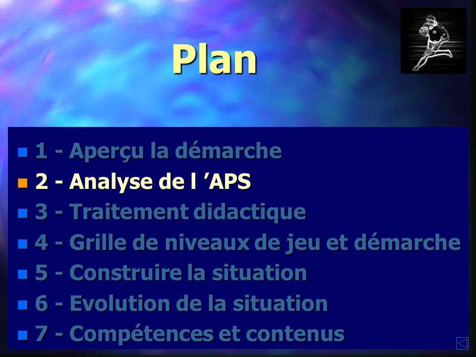 Plan 1 - Aperçu la démarche 2 - Analyse de l 'APS
