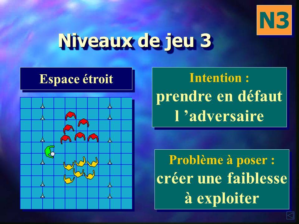 N3 Niveaux de jeu 3 prendre en défaut l 'adversaire