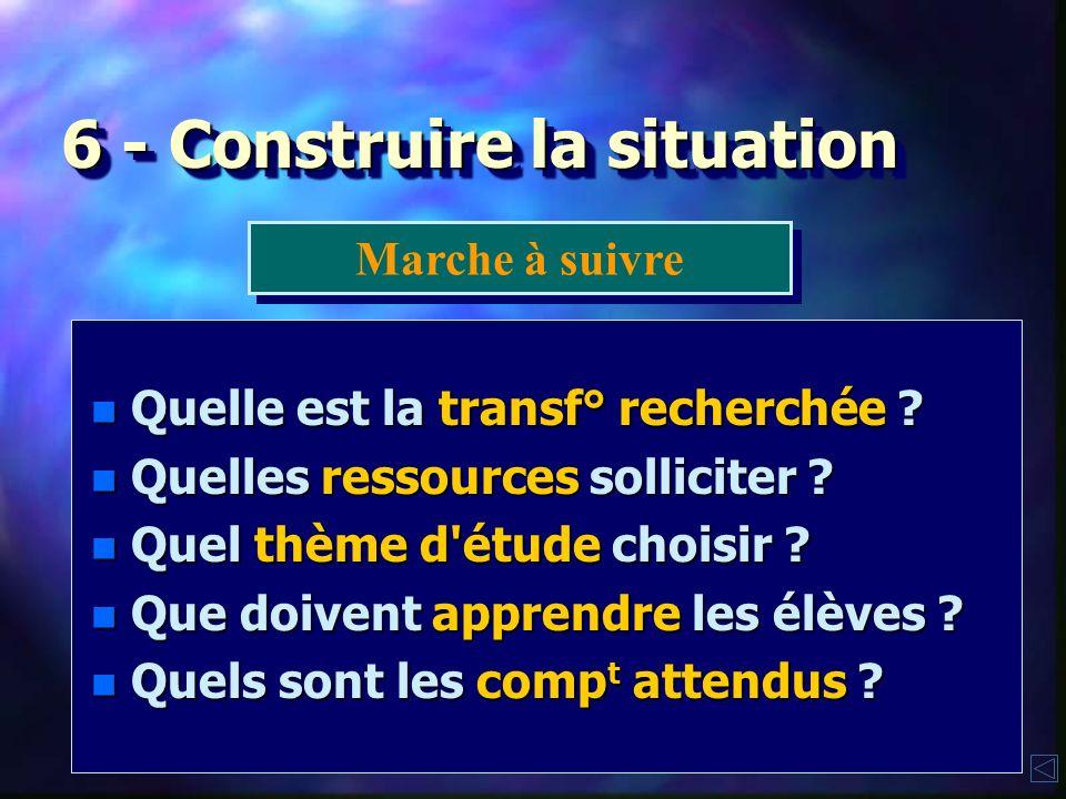 6 - Construire la situation