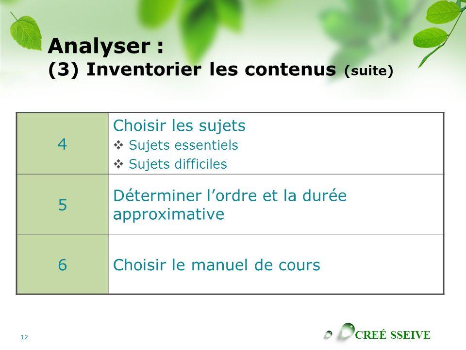 Analyser : (3) Inventorier les contenus (suite)