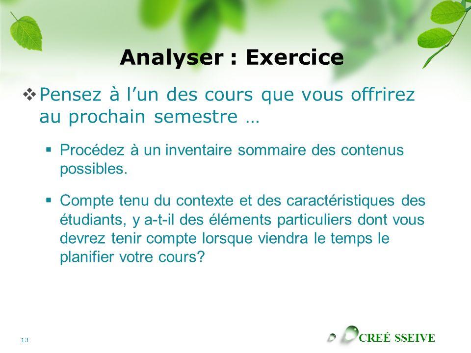 Analyser : Exercice Pensez à l'un des cours que vous offrirez au prochain semestre … Procédez à un inventaire sommaire des contenus possibles.