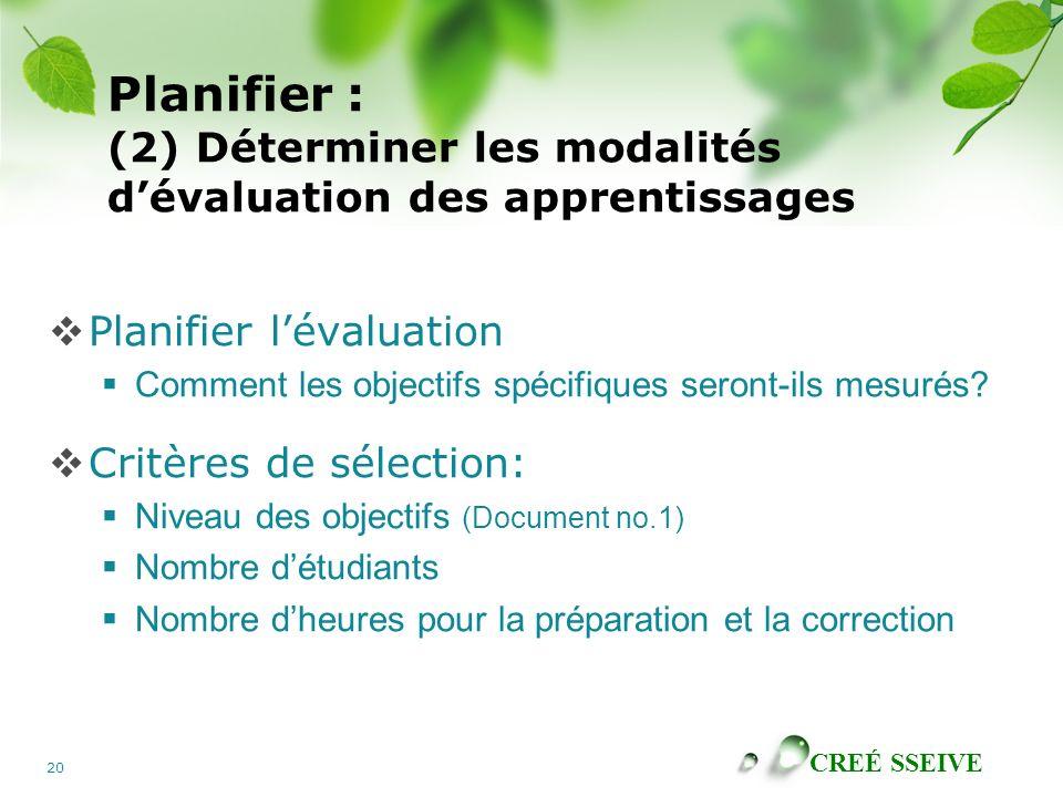 Planifier : (2) Déterminer les modalités d'évaluation des apprentissages