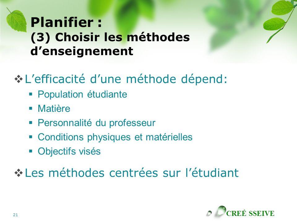 Planifier : (3) Choisir les méthodes d'enseignement