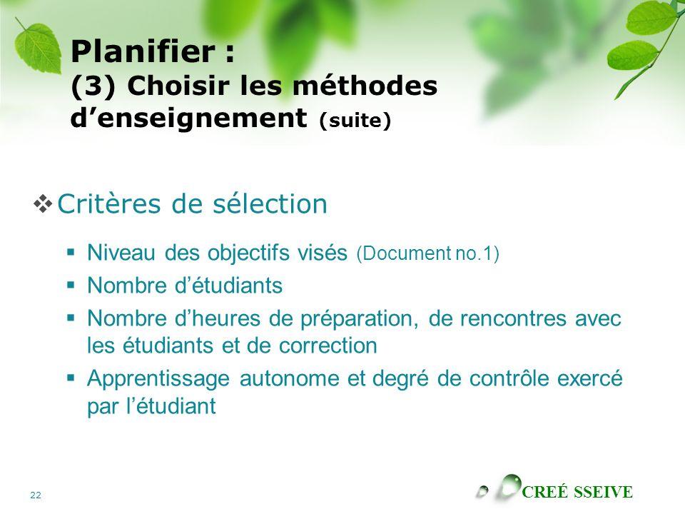 Planifier : (3) Choisir les méthodes d'enseignement (suite)