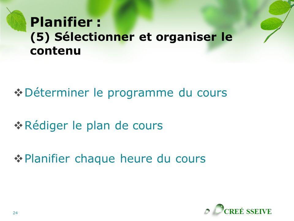 Planifier : (5) Sélectionner et organiser le contenu