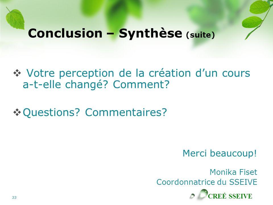 Conclusion – Synthèse (suite)