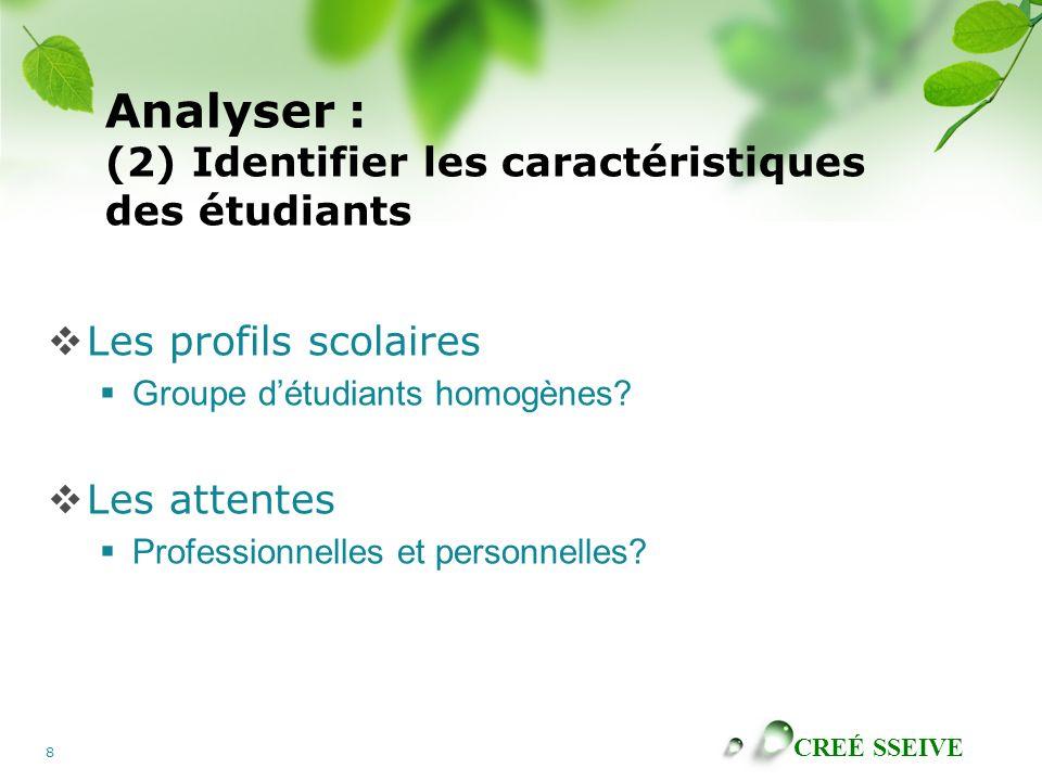 Analyser : (2) Identifier les caractéristiques des étudiants
