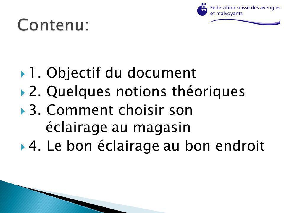 Contenu: 1. Objectif du document 2. Quelques notions théoriques