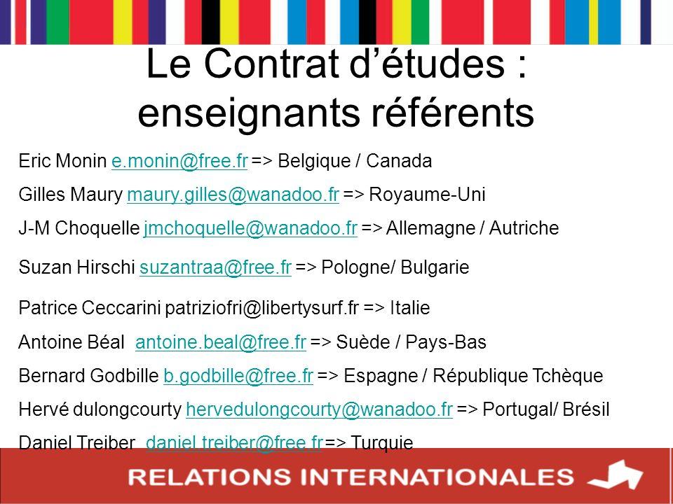 Le Contrat d'études : enseignants référents
