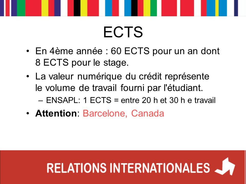 ECTS En 4ème année : 60 ECTS pour un an dont 8 ECTS pour le stage.