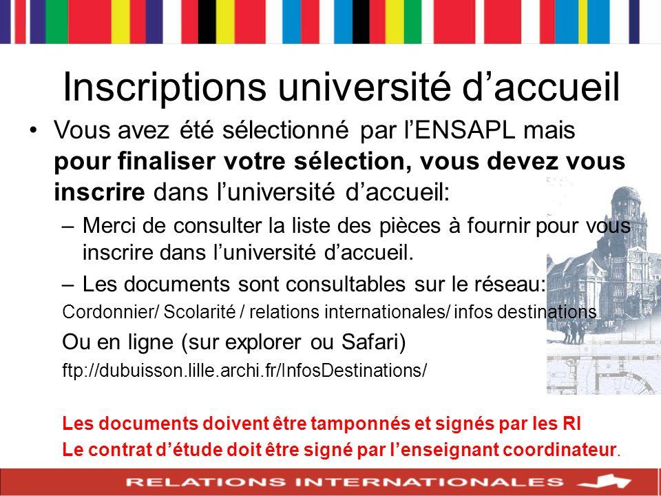 Inscriptions université d'accueil