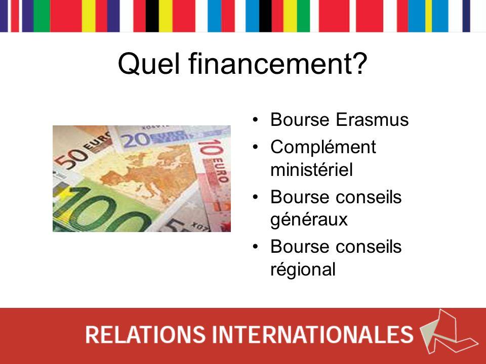 Quel financement Bourse Erasmus Complément ministériel