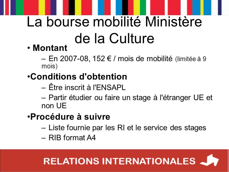 La bourse mobilité Ministère de la Culture