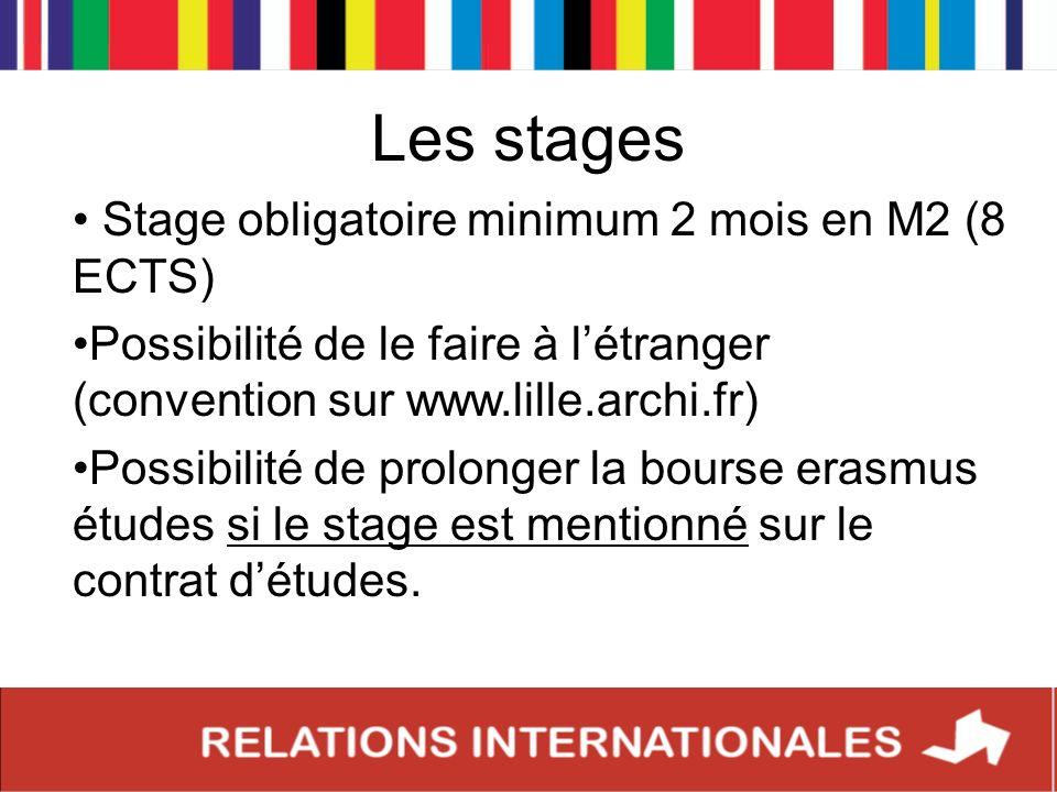 Les stages Stage obligatoire minimum 2 mois en M2 (8 ECTS)