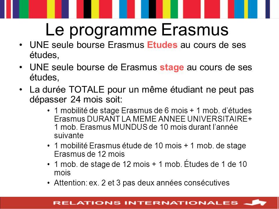 Le programme Erasmus UNE seule bourse Erasmus Etudes au cours de ses études, UNE seule bourse de Erasmus stage au cours de ses études,