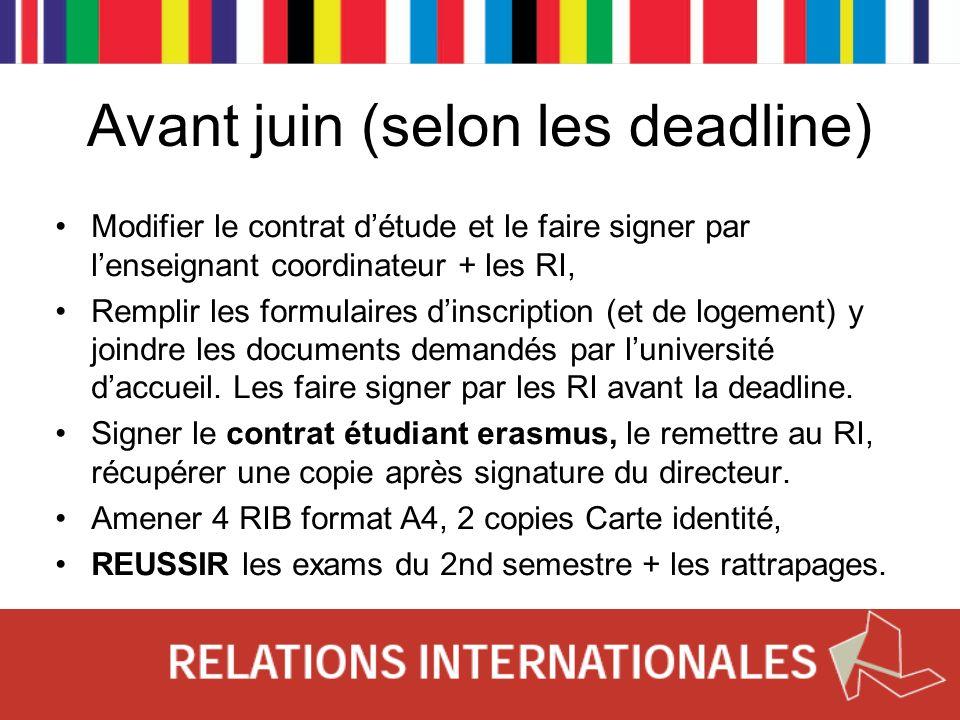 Avant juin (selon les deadline)