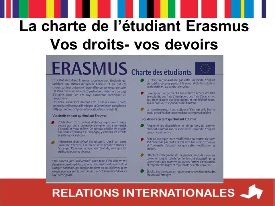 La charte de l'étudiant Erasmus Vos droits- vos devoirs