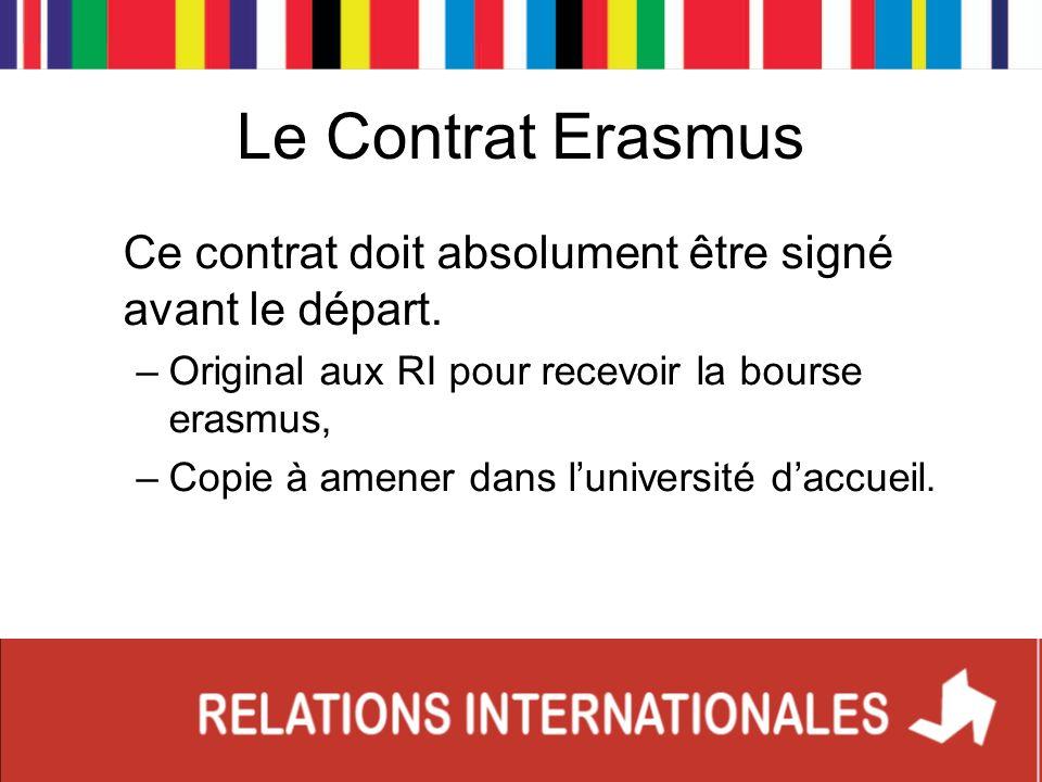 Le Contrat Erasmus Ce contrat doit absolument être signé avant le départ. Original aux RI pour recevoir la bourse erasmus,