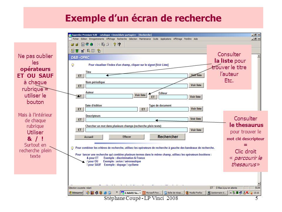 Exemple d'un écran de recherche