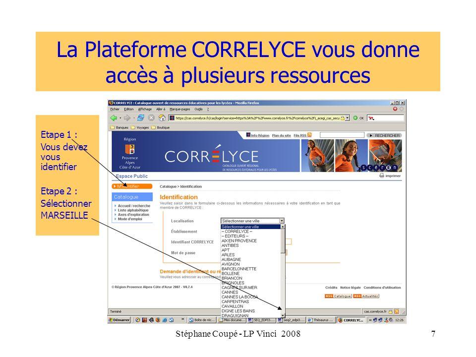 La Plateforme CORRELYCE vous donne accès à plusieurs ressources
