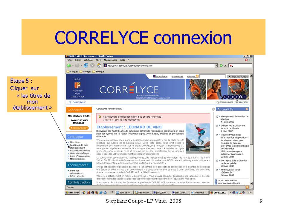 CORRELYCE connexion Etape 5 : Cliquer sur