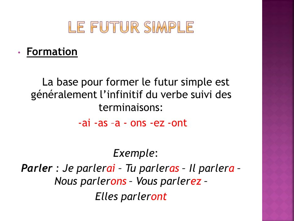 Le futur simple Formation