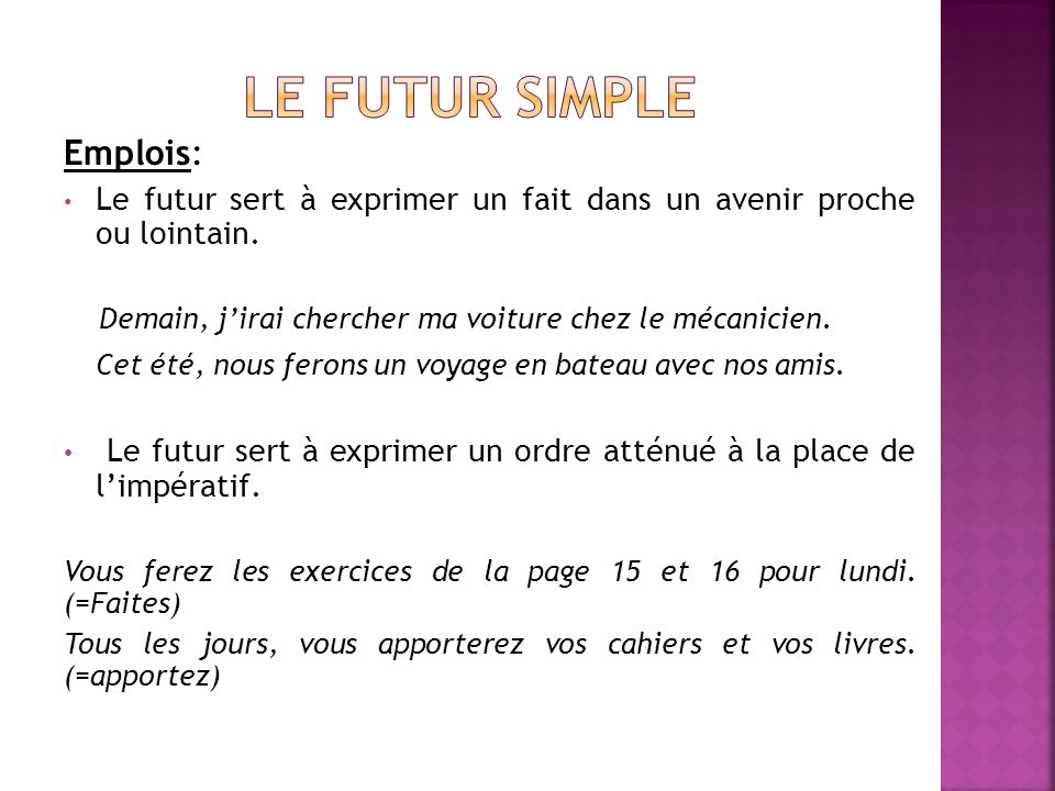 Le futur simple Emplois: