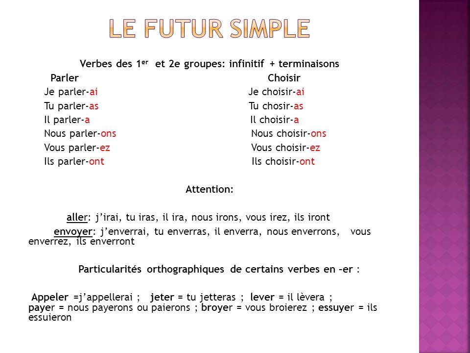 Verbes des 1er et 2e groupes: infinitif + terminaisons