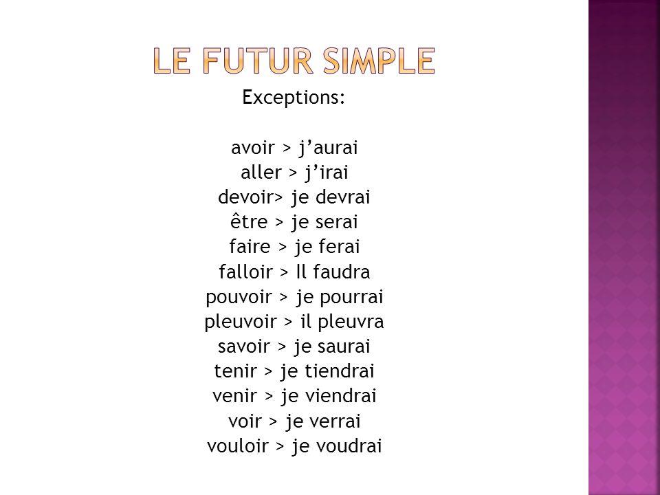 Le futur simple Exceptions: avoir > j'aurai aller > j'irai