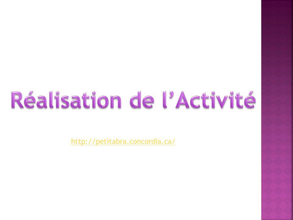 Réalisation de l'Activité
