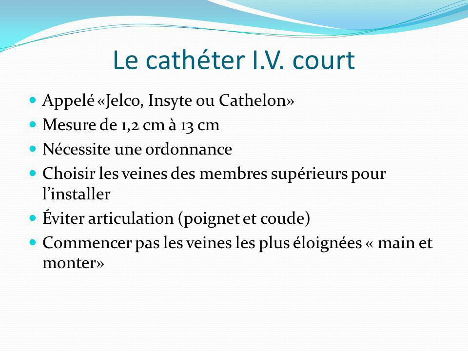 Le cathéter I.V. court Appelé «Jelco, Insyte ou Cathelon»