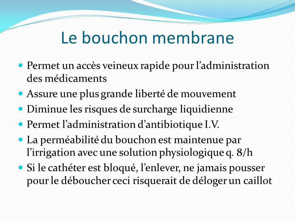 Le bouchon membrane Permet un accès veineux rapide pour l'administration des médicaments. Assure une plus grande liberté de mouvement.