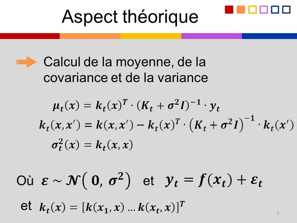 Aspect théorique Calcul de la moyenne, de la covariance et de la variance Où et et