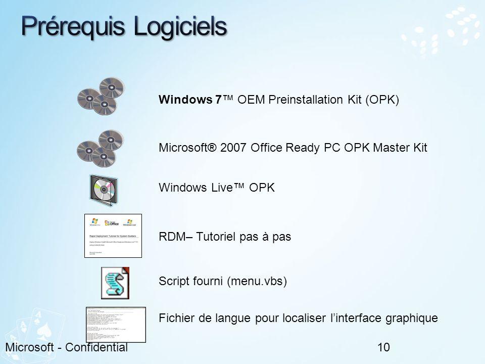 Prérequis Logiciels Windows 7™ OEM Preinstallation Kit (OPK)