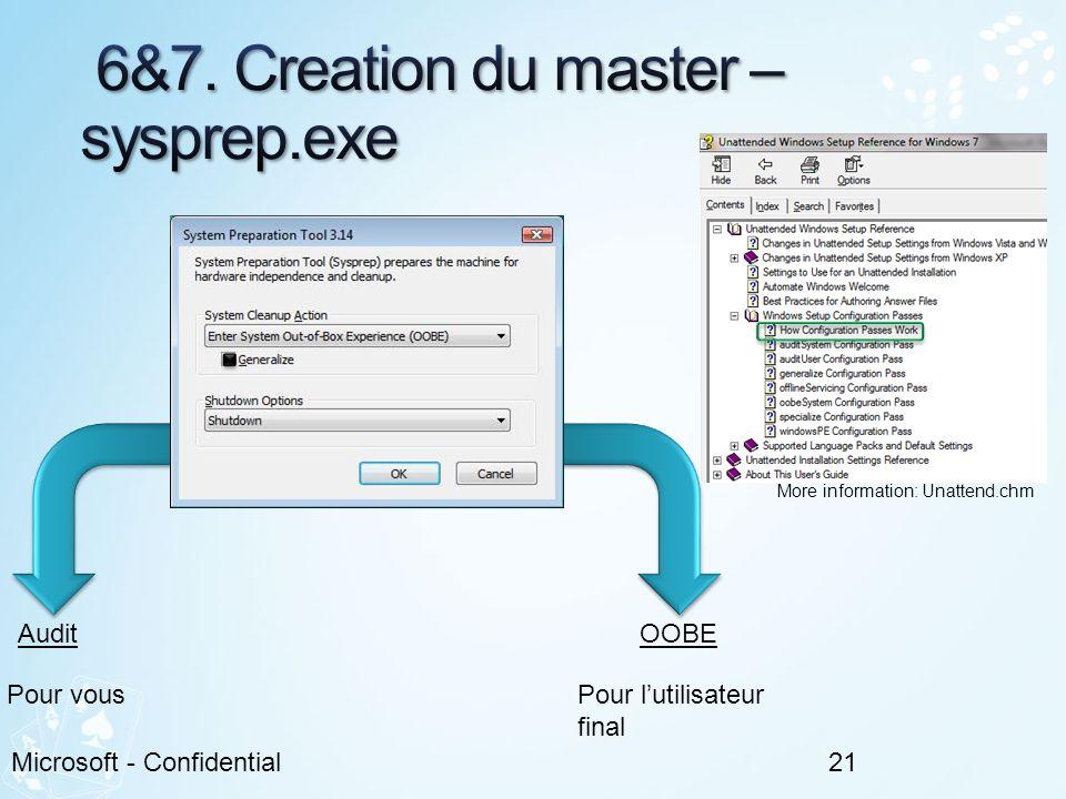 6&7. Creation du master – sysprep.exe