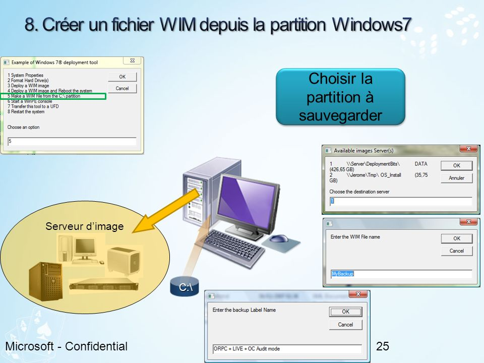 8. Créer un fichier WIM depuis la partition Windows7