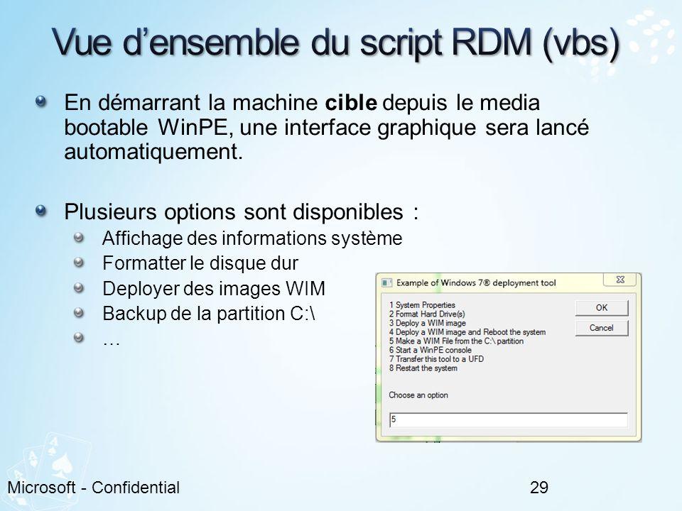 Vue d'ensemble du script RDM (vbs)