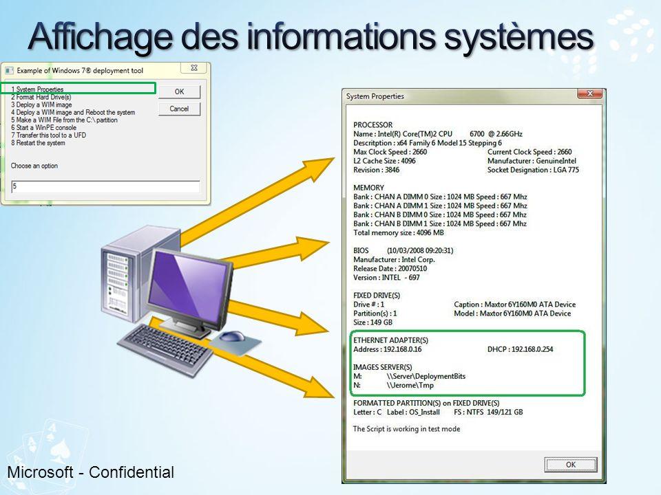 Affichage des informations systèmes properties