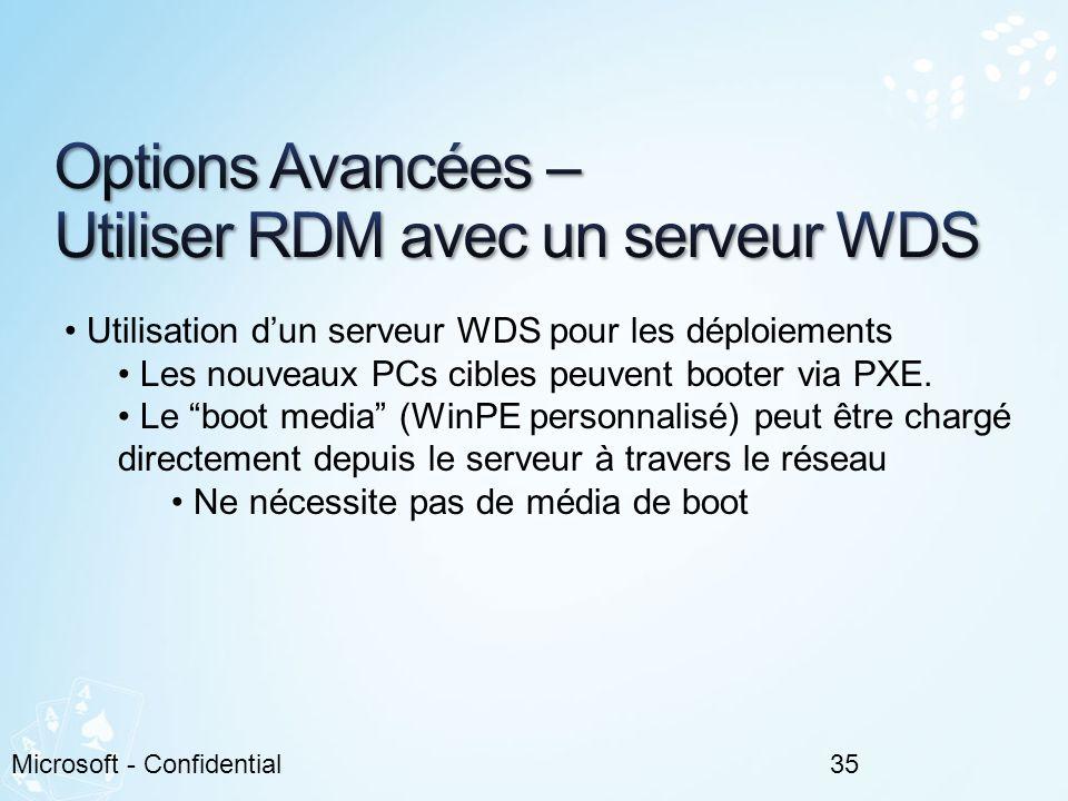 Options Avancées – Utiliser RDM avec un serveur WDS