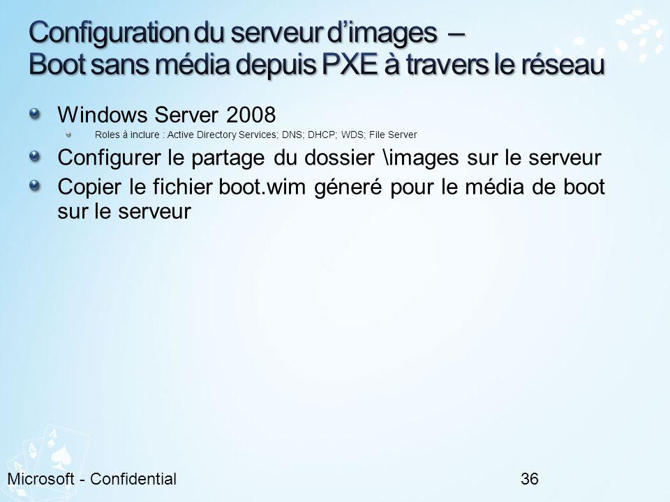 Configuration du serveur d'images – Boot sans média depuis PXE à travers le réseau