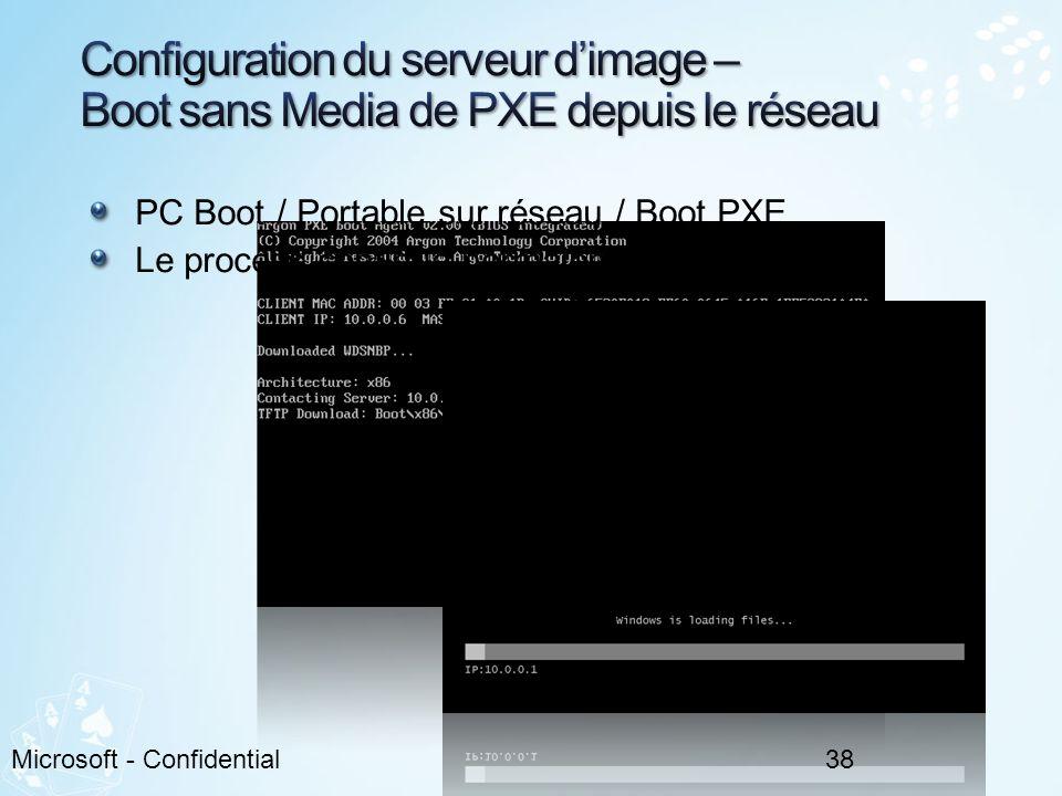 Configuration du serveur d'image – Boot sans Media de PXE depuis le réseau